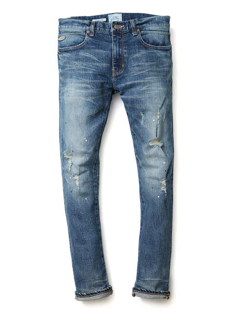 BORN FREE GARAGE CRASH STRETCH JAPANESE SELVEDGE DENIM SLIM JEANS (INDIGO) / ボーンフリーガレージクラッシュストレッチデニム