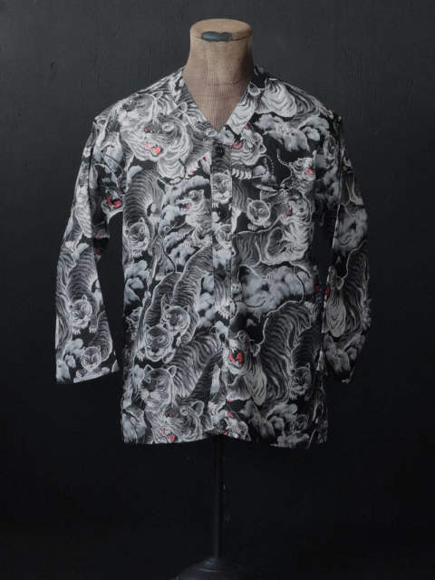 Hundred Tiger Full Open Surgeon Shirt (Black Tiger)