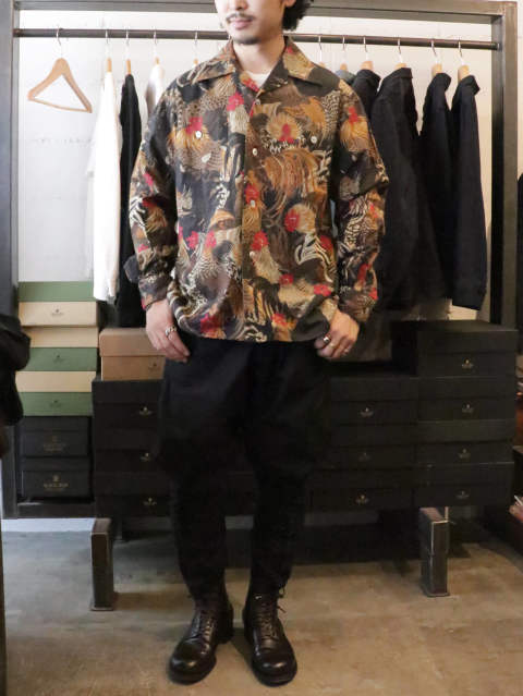 1950s L/S Fowl Pattern Sport Shirt  / BLACKSIGN 2019SS